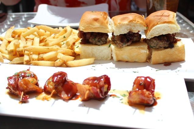Marinated Beef Sliders that melt in your mouth and tasty Bacon Wrapped Scallops.