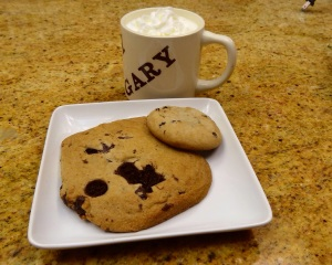 I couldn't resist bringing home some chocolate chip cookies from Zeapod Cakery and enjoying them with a little egg nog