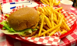 Charlie's makes a mean chicken sandwich! Pictured is the Dr. J.G.'s Chicken Sandwich, named after Charles doctor.